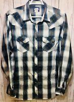 Wrangler Men's Size XXL Western Blue Plaid Shirt Pearl Snaps Cowboy Rodeo