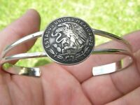 Cincuenta  snake eagle centavos Mexican coin cuff Bracelet adjustable nice gift