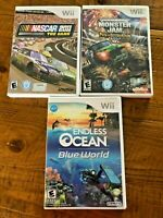 Lot of 3 Nintendo Wii Games Endless Ocean Blue Monster Jam Destruction Nascar 11
