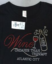 "Black ""Wine Cheaper Than Therapy"" Atlantic City Rhinestone Shirt Size Small. New"