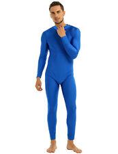 Mens Sexy Long Sleeve Jumpsuit Tight Leotard Full Body Suit Ballet Gym Dancewear