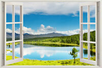 Window 3D ART Scape Wall Sticker Decal Graphic Mural Instant View Mountain Lake