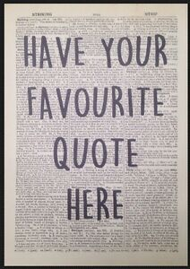 Choose Your Own Quote Personalised Custom Print Vintage Dictionary Page Wall Art