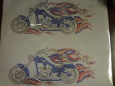 Sparkle Transfer - Heat Press - RED WHITE AND BLUE MOTORCYCLES
