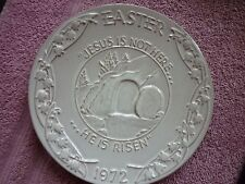 "FRANKOMA Pottery Oral Roberts Assoc. Tulsa Dated 1972 Easter Plate ""He Is Risen"""