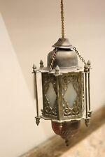 Antique Persian Pierced Brass and Glass Lantern/ Islamic Mosque Lamp