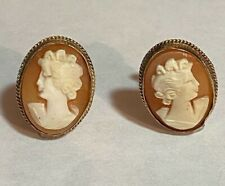 Vintage 14K Yellow Gold Cameo Screw Back Earrings