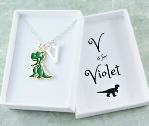 Dinosaur Necklace, Dino Jewellery For Kids, Silver Necklace, Personalised Gift