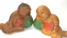 Old Chinese Asian Folk Art Hand Carved BOY and GIRL Sleeping Children