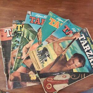 Tarzan 1952 lot 6 vintage Dell comic edgar rice Burroughs Lex barker 52 page
