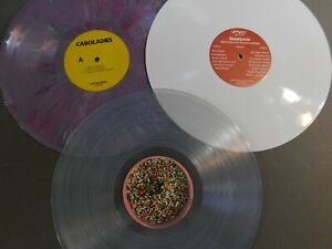 "LOT: 3 COLORED 12"" LP VINYL RECORDS CRAFTS DECORATION CLEAR WHITE PURPLE"
