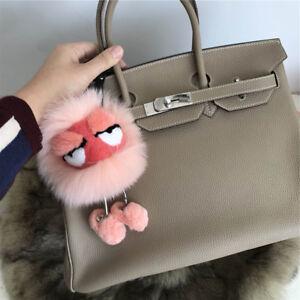 Peach Pink Real Fox Fur PomPom Ball Fur Monster Bag Bug Charm Keychain