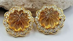 Citrine Floral Carved Fancy Cut and Diamonds in 18Kt Earrings Vintage