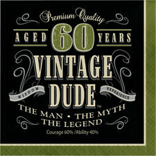 16 x Vintage Dude 60th Napkins Mens Birthday Tableware Supplies Adult Party 60