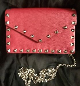 Valentino Garavani Red Rock Studded Wallet With Silver Chain