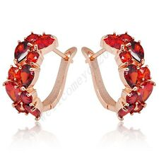 Colorful Sapphire CZ 10Kt Rose Gold Filled Hoop Stud Women's Engagement Earrings