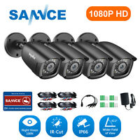 SANNCE 4pcs 1080P Outdoor 2MP Security Camera 3000TVL Home CCTV IR Night Vision