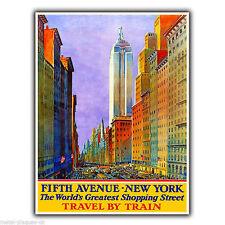 Fifth Avenue New York vintage con pubblicità in metallo Insegna Placca Parete Stampa Poster