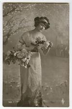 c 1910 Vintage Glamour SPRING BEAUTY Fashion Lady photo postcard
