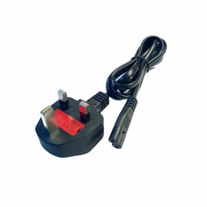 Black F8 FIGURE EIGHT 2-PRONG MAINS POWER CHARGER ADAPTER LEAD CABLE UK PLUG