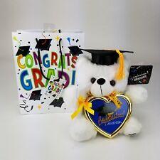 "8"" Graduation Plush Teddy Bear Black Cap & Diploma Holding Heart Frame Gift Bag"