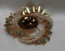 Very Unusual Faux Pearls Lovely Ab Rhinestone Vintage Broach