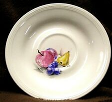 "SET Three (3) EDWIN M. KNOWLES China Co. SEMI VITREOUS 6"" Saucers FRUITS 1940's"