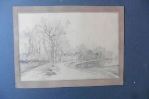 FRENCH SCHOOL 19thC - VILLAGE IN A RURAL LANDSCAPE - PENCIL DRAWING