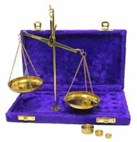 Antique Brass Polished Balance Scale with Velvet Box with Weights Jewelry NEW