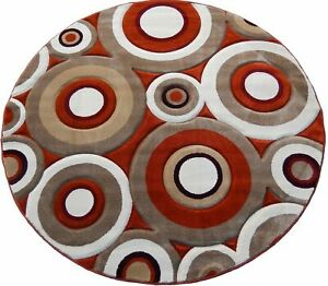 Area Rug Rust tone, Brown, Coffee Circular Design 3D Woven Home Decor Carpet