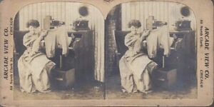 STEREOVIEW LADY with EDISON CRANK PHONOGRAPH & HORN and MAGIC LANTERN PROJECTOR