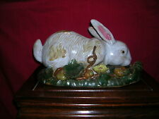 Rabbit in Garden Figurine of Glazed Earthenware