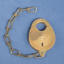 Vtg Antique Sargent + Greenleaf Brass Padlock #328 w/ Chain Rochester NY No Key