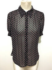 EAST 5th Camicia Donna Pois Jersey Crèpe Woman Pin Up Rockabilly Shirt Sz.M - 44