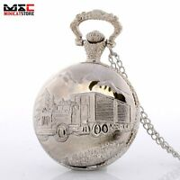 Antique Silver Truck Forest Quartz Pocket Watch Necklace Chain Pendant Mens Gift