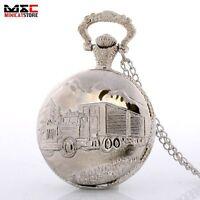 Antique Silver Truck Forest Quartz Pocket Watch Necklace Chain Pendant Mens Gift