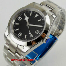 40mm bliger sterile black dial luminous mark sapphire glass automatic mens watch