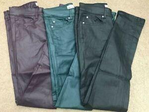 NEW LADIES COATED SKINNY JEANS TROUSERS BLACK SIZE 4-16 Regular Leg Free P&P