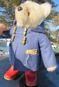 VINTAGE TEDDY BEAR GABRIELLE 1974 PADDINGTON ENGLAND RED DUNLOP BOOTS BLUE CT 20