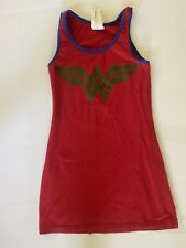 Girl Sz S 14 Wonder Woman Logo Stars Dc Comics Tank Dress Red Gold Cotton Blend