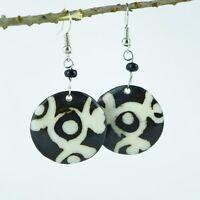 Maasai Market Africa Handmade Round Mud Cloth Print Batik Earrings 374-113