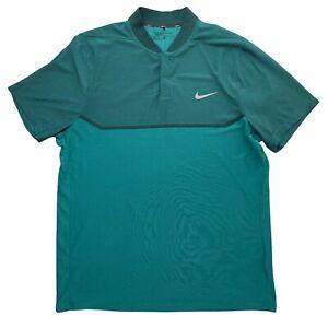 Nike Polo Shirt Mens XL Teal Snap Placket MM Fly Swing Knit Block Alpha 802840
