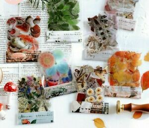 40Pcs/Bag Plant Flower Mushroom Ginkgo Pet Deco Diary Stickers Scrapbooks Decors
