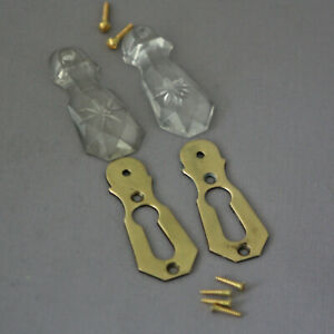 Pair Antique Glass Escutcheons