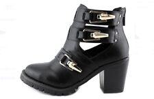 "Gold Buckle Black Zipper Ankle Boots Booties Sochi by Wanted US Wms 8.5 3"" Heel"