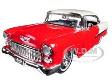 """1955 CHEVROLET BEL AIR HARD TOP RED """"SHOWROOM FLOOR"""" 1/24 DIECAST BY JADA 98887"""