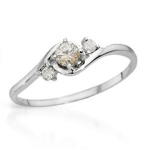 SUPERB SOLID 10K WHITE GOLD GENUINE 0.25CTW DIAMOND RING 7 - U$1430
