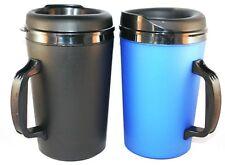 2 Foam Insulated 34 oz ThermoServ Mugs Black & Blue