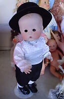 "HUGE Porcelain Art Doll Gwen Ross SIGNED Boy in Suit Doll 21"" Tall"