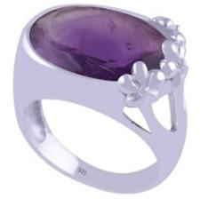 925 Sterling Silver Amethyst Fancy Cut Oval Statement Ring Size 9